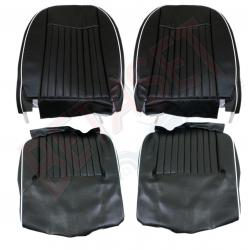 Kit housses de siège vinyle noires avec liseré blanc