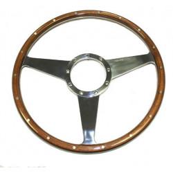 "Moto Lita volant bois riveté 15"" - plat"