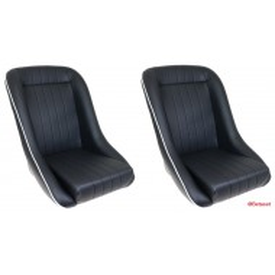 Paire sièges baquets, noir avec liseret blanc