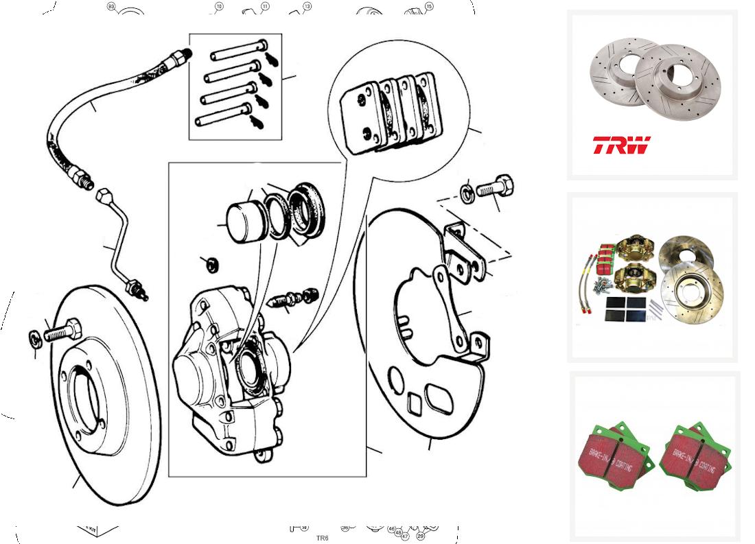Tr4a Tr5 /& Tr6 209327 disque de frein avant Triumph Tr4